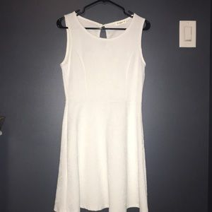 White Embroidered Mid-Knee Dress